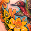 Tattoos - Hummingbird, bells of Ireland and Dafodil tattoo - 59374