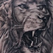 Tattoos - Black and Grey Lion Roar Tattoo - 76096