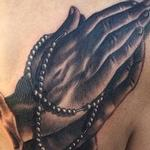 Tattoos - Praying hands holding rosary tattoo - 104586