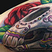 Tattoos - Day of the Dead Unicorn Skull Tattoo - 89580