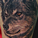 Tattoos - Black and Grey Wolf Portrait Tattoo - 84600