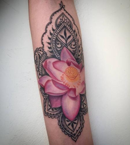 Lotus Henna Tattoo in Progress Tattoo Design