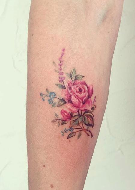 Tiny vintage rose tattoo Tattoo Design Thumbnail