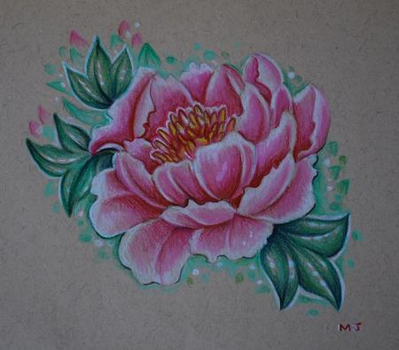 Mallory Johnstone - Peony Tattoo Sketch