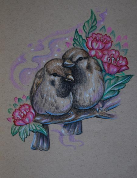 Mallory Johnstone - Love Birds Tattoo Sketch