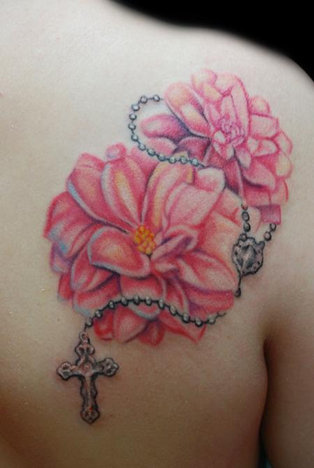 Mallory Johnstone - Dahlia with Rosary Tattoo