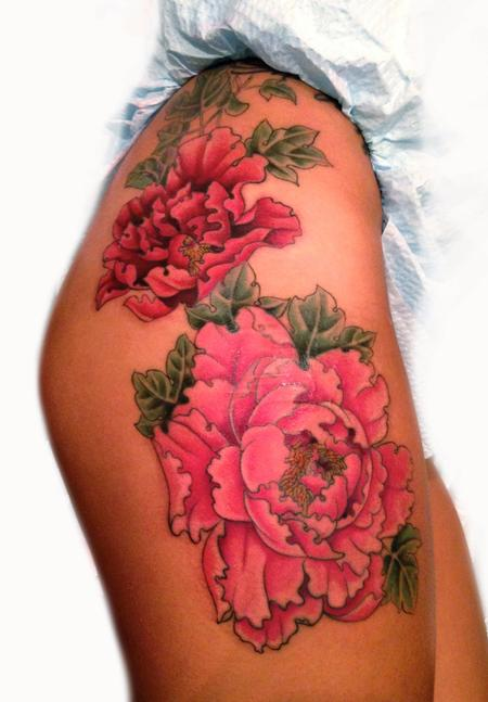 Tattoos - Peony Thigh Tattoo - 87572