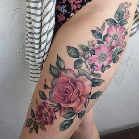 Mallory Swinchock - Floral Thigh tattoo