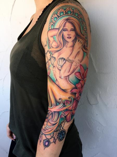 Mermaid Sleeve Tattoo Design