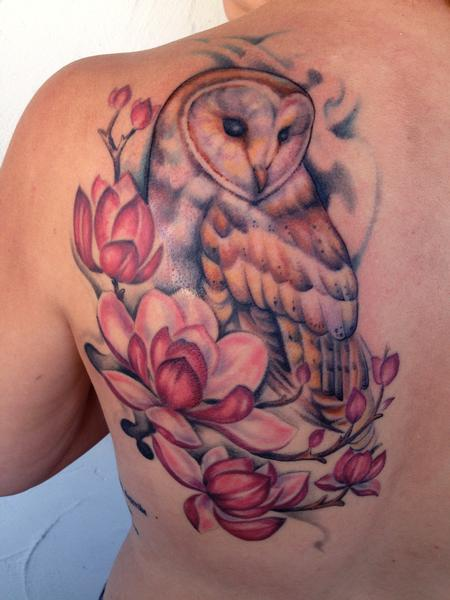 Tattoos - Barn Owl and Magnolias - 96400