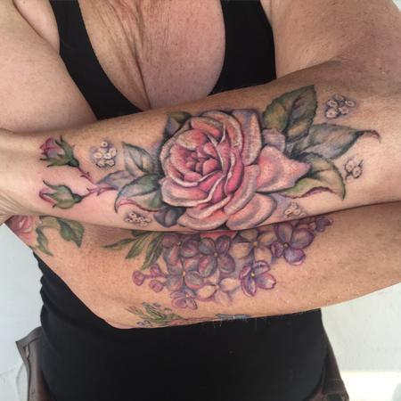 Mallory Swinchock - Roses and lilacs partial sleeve
