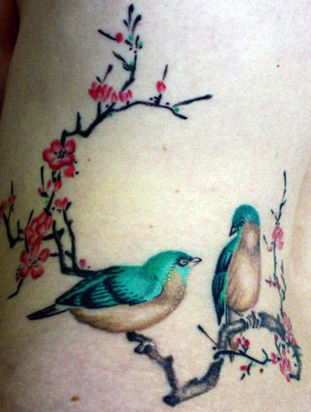 Chinese Plum Blossom Birds Tattoo Design Thumbnail