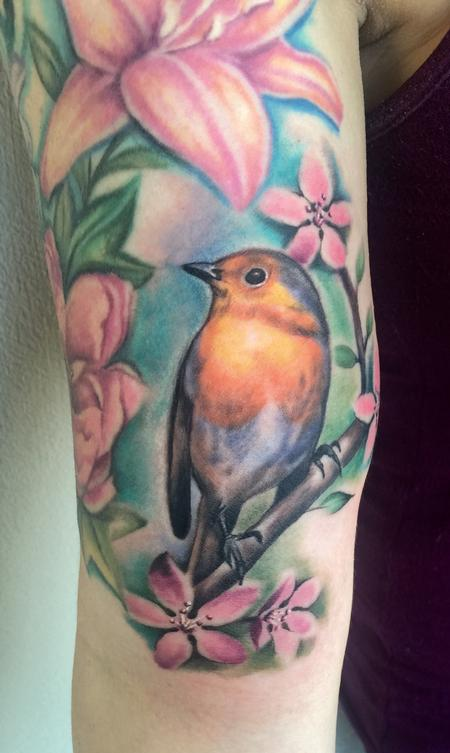 Robin on the arm Tattoo Design Thumbnail