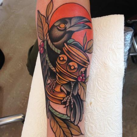 Tattoos - Neo Traditional Crow Tattoo - 130970