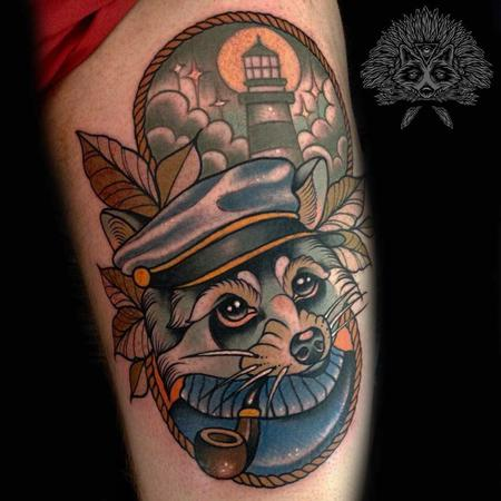 Tattoos - Neo Traditional Nautical Racoon Tattoo - 130973