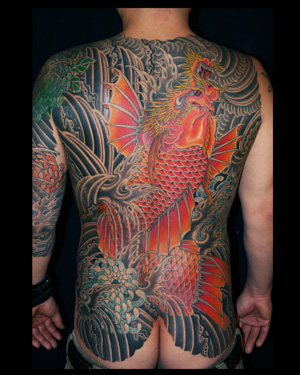 koi dragon back piece by marco serio tattoonow. Black Bedroom Furniture Sets. Home Design Ideas