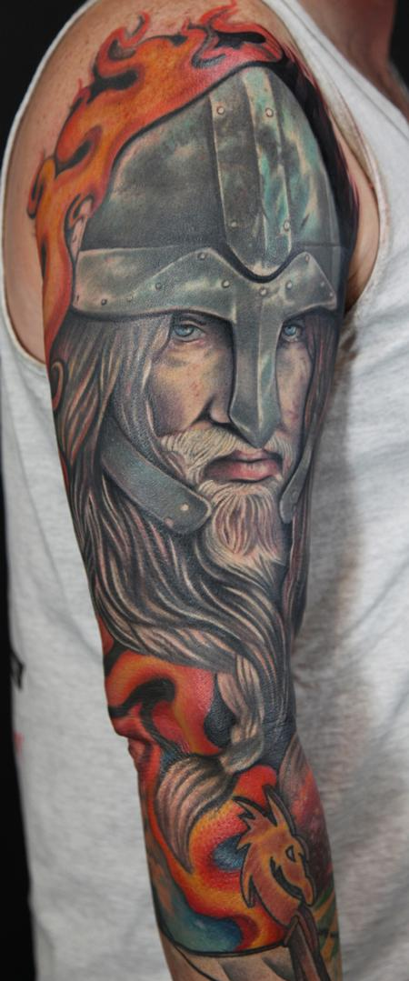 Mario Rosenau - colored realistic viking warrior tattoo