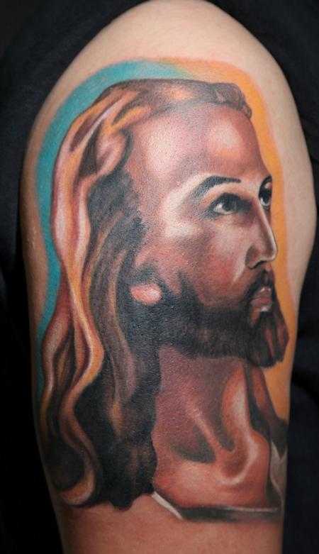 Mario Rosenau - colored portrait of jesus tattoo