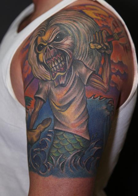 Mario Rosenau - colored portrait of eddie from iron maiden tattoo