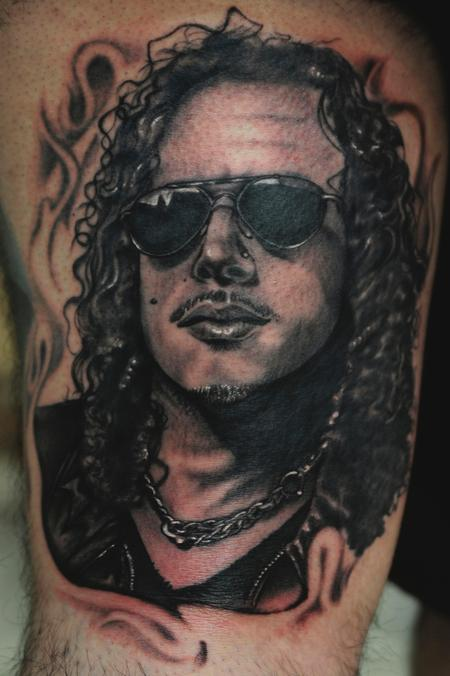 Mario Rosenau - black and gray portrait of metallica tattoo