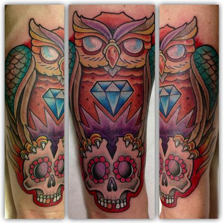 Tattoos - Owl and skull