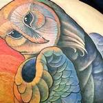 Barn owl under moon  Tattoo Design Thumbnail