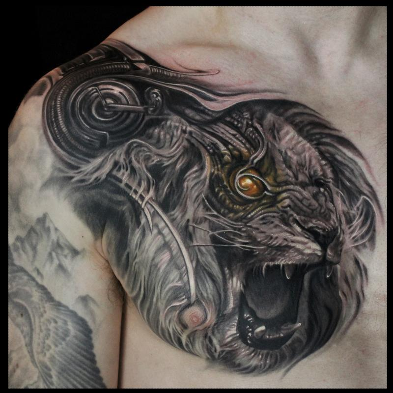 Bio mechanical roaring lion chest tattoo by maximilian for Lion chest tattoos