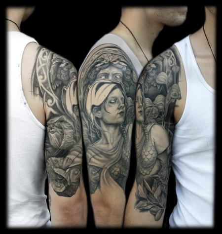 Maximilian Rothert - black and grey greek heritage sleeve tattoo