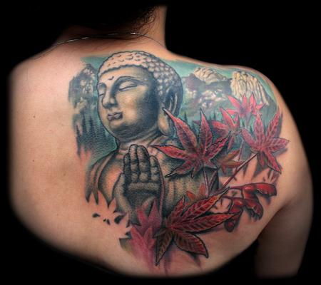 Tattoos - COLOR BUDDHA MAPLE LEAF COVERUP TATTOO - 74275