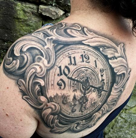 Tattoos - FILIGREE CLOCK SHOULDER TATTOO - 109368