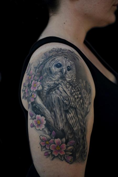 Tattoos - REALISTIC BARRED OWL AND CHERRY BLOSSOM TATTOO - 80398