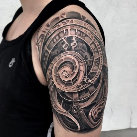 Tattoos - REALISTIC ABTRACT CLOCK TATTOO - 117896