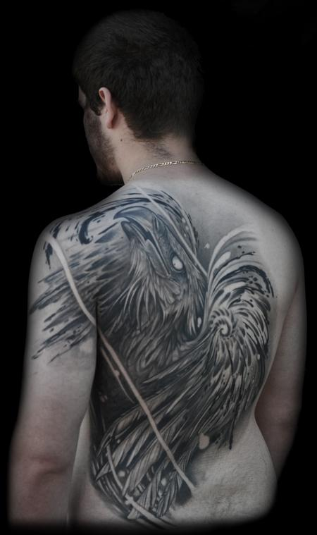 Tattoos - ABSTRACT REALISTIC PHOENIX BACK TATTOO - 76700