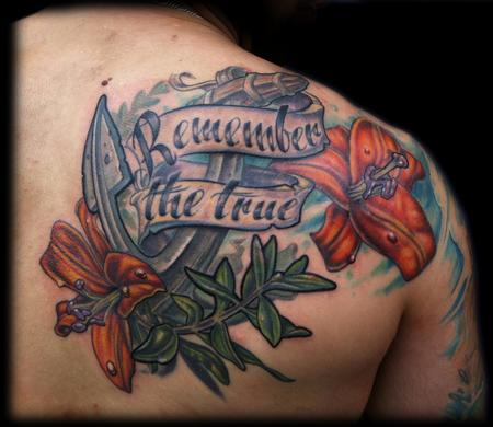 Maximilian Rothert - color anchor lily olive shoulder memorial tattoo