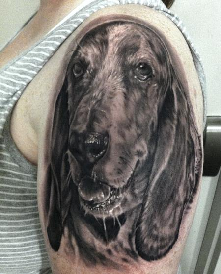 Tattoos - BASSET HOUND DOG PORTRAIT - 109369