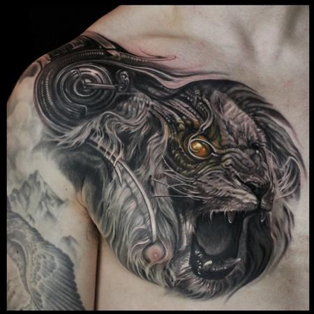 Bio Mechanical Roaring Lion Chest Tattoo Design Thumbnail