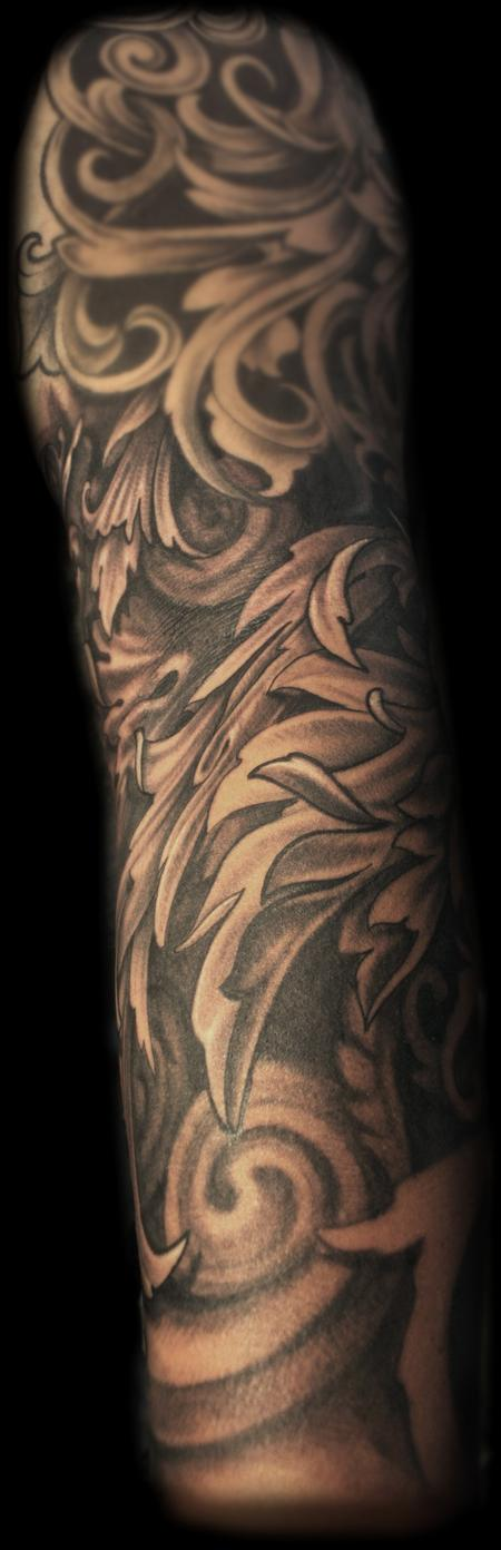 Tattoos - Black and grey fancy filigree sleeve tattoo - 70399