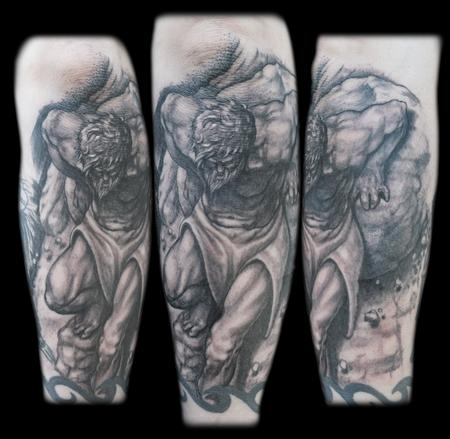 Tattoos - Black and grey sisyphus greek myth tattoo - 67411