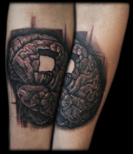 Maximilian Rothert - BLACK AND GREY REALISTIC BRAIN ARM TATTOO