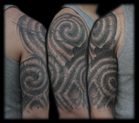 Tattoos - black and grey celtic bio organic half sleeve - 64087