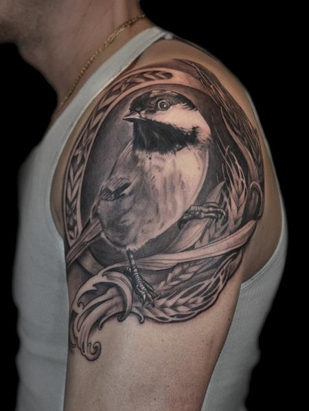 Tattoos - CHICKADEE AND WHEAT ART NOUVEAU TATTOO - 86382