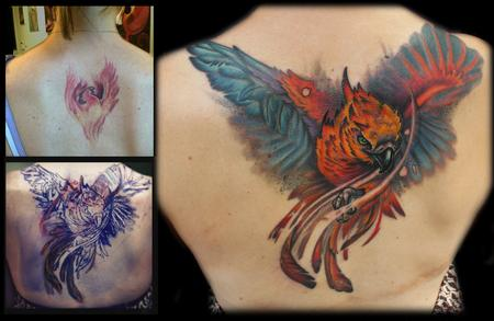 Tattoos - Color phoenix coverup back tattoo - 68924