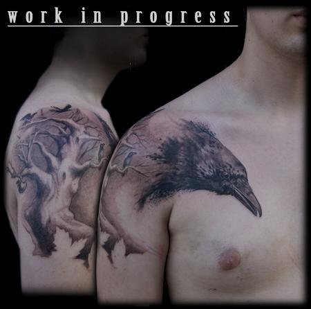Maximilian Rothert - black and grey crow raven tree tattoo
