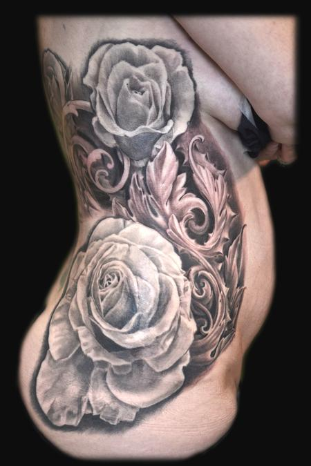 Tattoos - ROSES AND FILIGREE RIB TATTOO - 109362