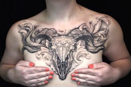 Tattoos - REALISTIC FILIGREE RAMSKULL CHEST-PIECE TATTOO - 94030