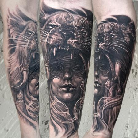 Tattoos - BLACK AND GREY LIONESS WARRIOR TATTOO - 117895