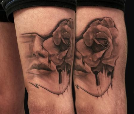 Maximilian Rothert - black and grey woman and rose tattoo