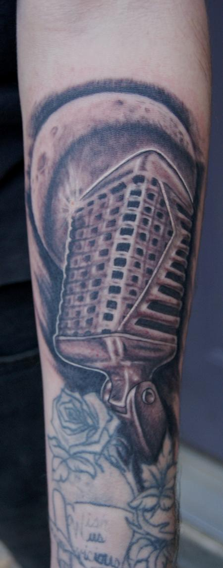 Tattoos - vintage microphone and moon - 59566