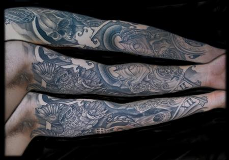 Tattoos - MOMENTO MORI MACABRE  SLEEVE interior - 77535