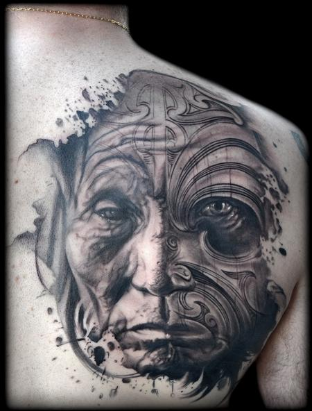 Tattoos - ABSTRACTED NATIVE AMERICAN AND MAORI MASK PORTRAIT TATTOO - 94075